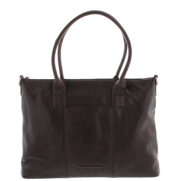 "Plevier Tote Laptop Bag Ladies Full Grain Cowhide 1-compartment 15.6 "" Dark Brown 483"