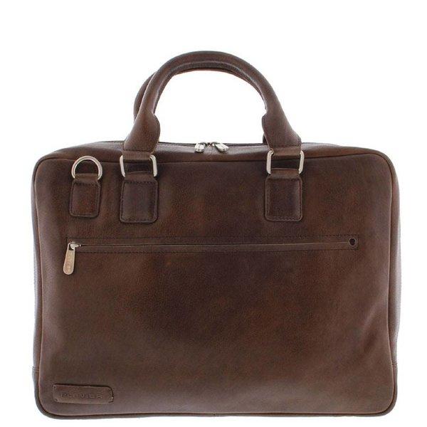 "Plevier Toploader Laptop bag Full grain Cowhide 1 compartment 17.3 "" Dark Brown 485"