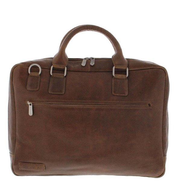 """Plevier Toploader Laptop bag Full grain Cowhide 1 compartment 17.3 """"Cognac 485-3"""