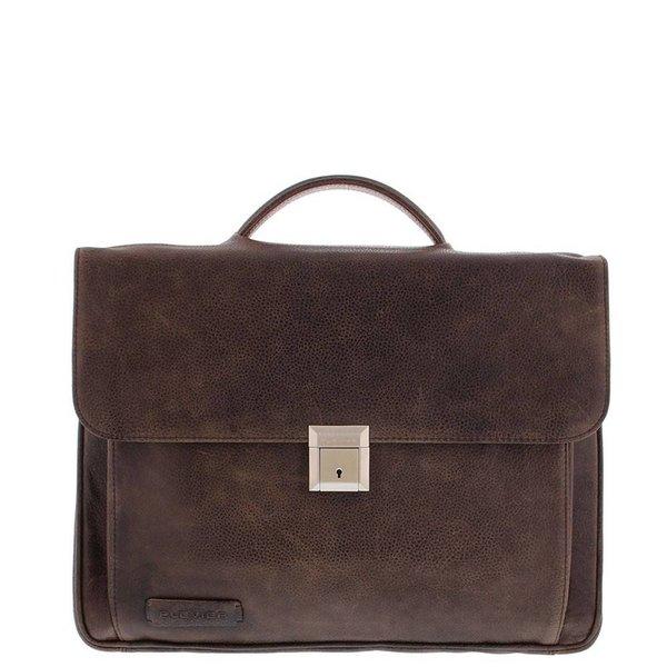 Plevier Business / laptop bag full grain leather crunch Dark Brown 476-2