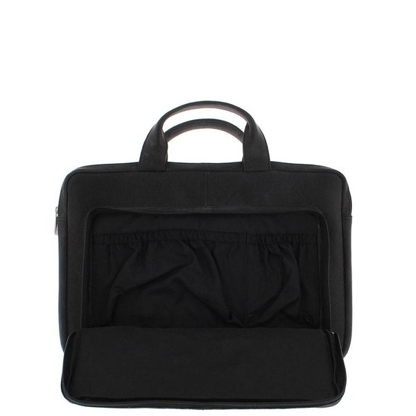 """Plevier Laptop Sleeve Full grain cow leather 15.6 """" with organizer front pocket 494-1 Black"""