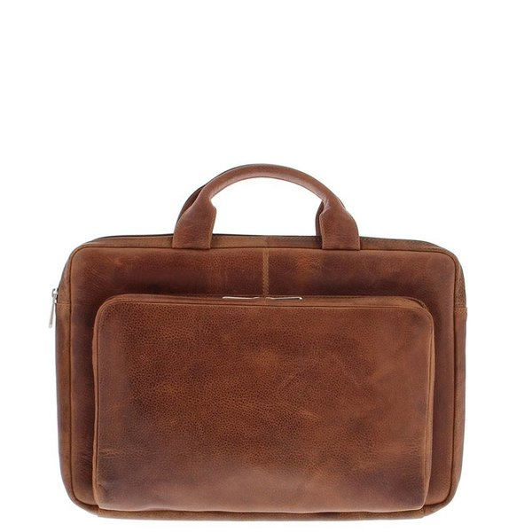 """Plevier Laptop Sleeve Full grain cow leather 15.6 """" with organizer front pocket 494-3 Cognac"""