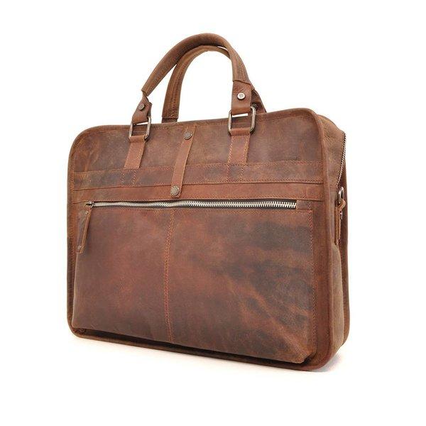 Leather laptop bag Barbarossa 826-129-71 COFFEE
