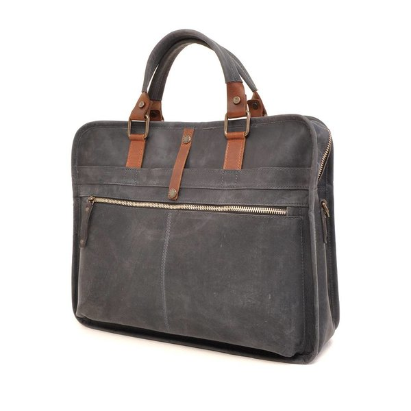 Leather laptop bag Barbarossa 826-129-07 Navy