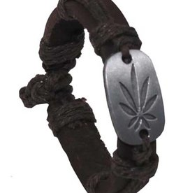 """Pure Trash Armband, """"Cannabis"""", Leder, braun"""