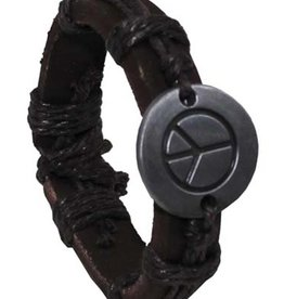 "Pure Trash Armband, ""Frieden"", Leder, braun"