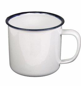 MFH Email-Tasse, weiß-blau, 300 ml, Durchmesser 8 cm