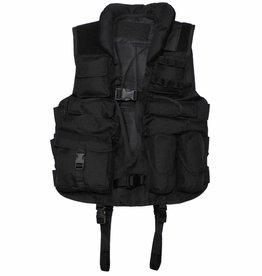 MFH Tactical vest zwart met met leren versteviging