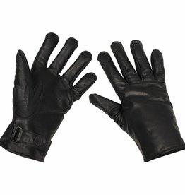 MFH Army leren handschoenen gevoerd zwart Mod.