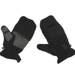 MFH Fleece-vuist-Vingerhandschoenen zwart met Ausziehschlaufen