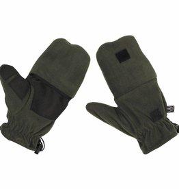 MFH Fleece-vuist-Vingerhandschoenen olijf/legergroen met Ausziehschlaufen