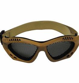 MFH Airsoftbrille, beige, Metall-Gittereinsatz, Deko