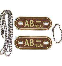 MFH Blutgruppenmarke, mit Kette, desert, 'AB NEG', 3 D