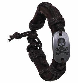 "Pure Trash Armband, ""Totenkopf"", Leder, braun"