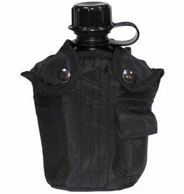 MFH US Plastikfeldflasche, mit Hülle, schwarz, 1 Liter