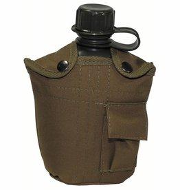 MFH US Plastikfeldflasche, mit Hülle, coyote, 1 Liter