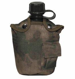 MFH US Plastikfeldflasche, 1 l, mit Hülle, HDT-camo FG
