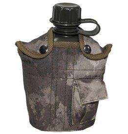 MFH US Plastikfeldflasche, 1 l, mit Hülle, HDT-camo