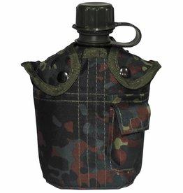 MFH US Plastikfeldflasche, mit Hülle, flecktarn, 1 l