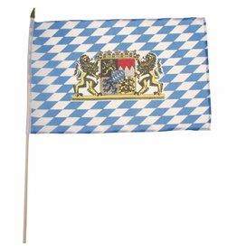 MFH Fahne, Bayern mit Wappen, Holzstiel, Gr. 30x45 cm