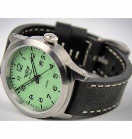 MFH Armbanduhr, 'FLIEGER', Lederarmband grau, mit Etui