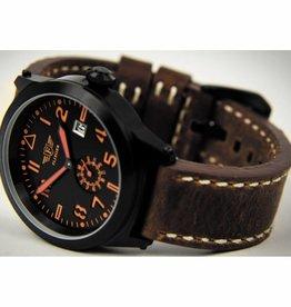 MFH Armbanduhr 'FLIEGER' Lederarmband braun met Etui