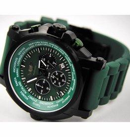MFH Armbanduhr 'FLIEGER' Chronograph groen met Etui