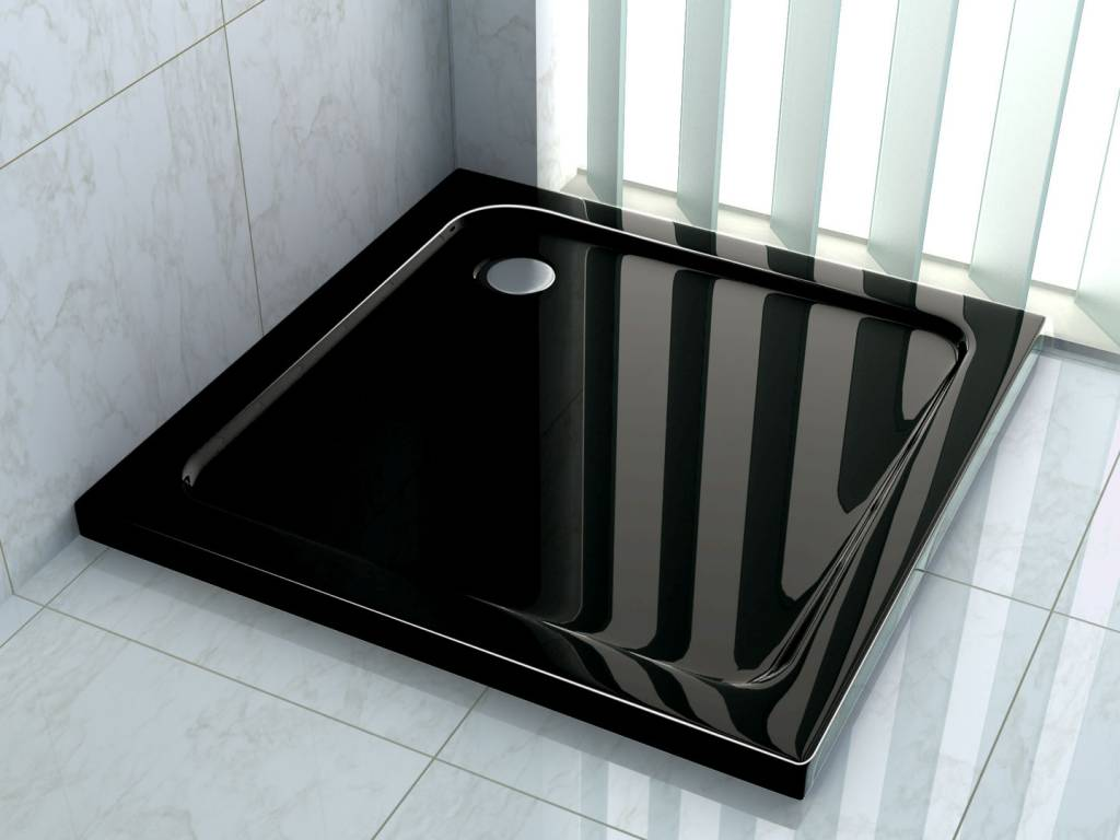 Toilet Accessoires Zwart : Douchebak 80 x 80 cm 5 cm hoog zwart badkamers sanitair douche met