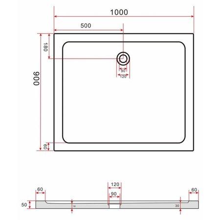 Douchebak 100 x 90 x 5 cm, 5 cm hoog