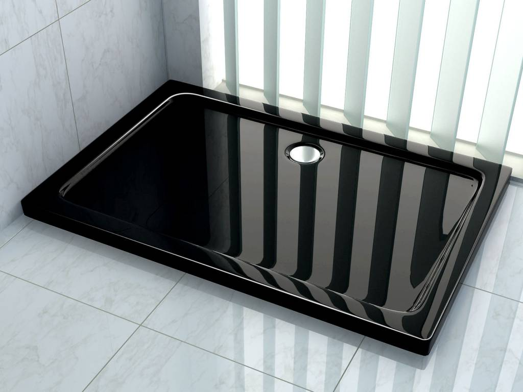 Douchebak 100 x 80 x 5 cm zwart sanidream.nl