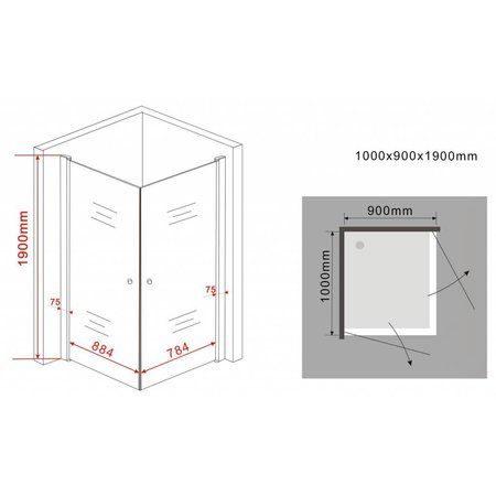 Douchecabine STALIS met 2 draaideuren 90 x 100 x 190 cm