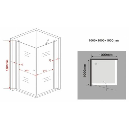 Douchecabine STALIS-FX 100x100x190 cm