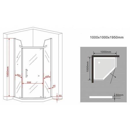 Douchecabine STALIS-PENTA 100x100x195cm vijfhoek met twee glazen legplanken