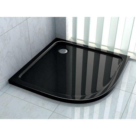 Douchebak kwartrond 90 x 90 cm, 5 cm hoog zwart