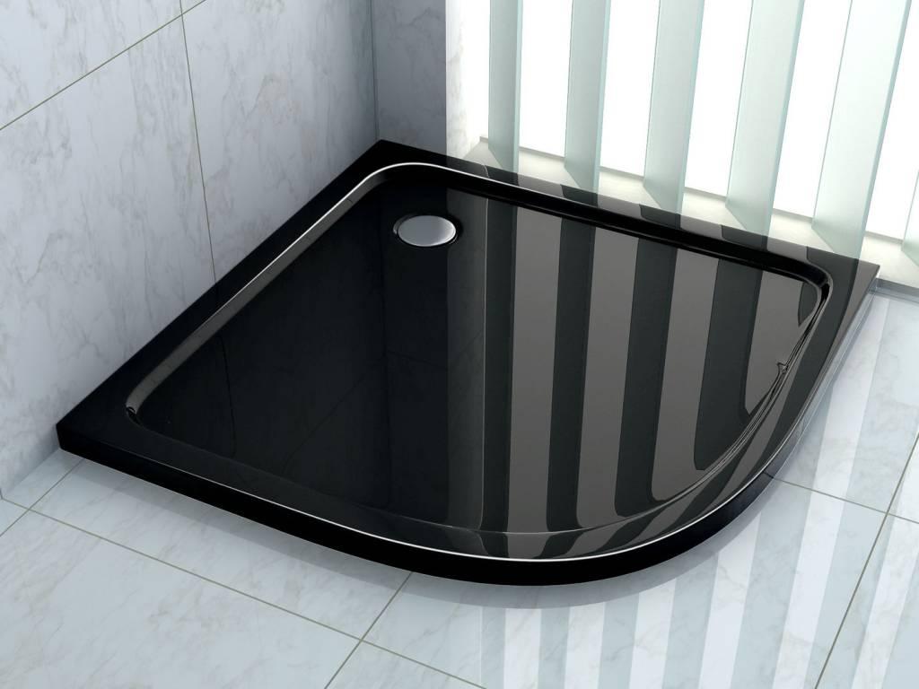 Douchebak kwartrond 90 x 90 cm slechts 5 cm hoog zwart for Miroir 90 x 90