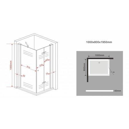 Douchecabine ONTARIO 100x80x195 cm