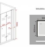 Douchecabine CLIP 90x90x180 cm met klapdeuren