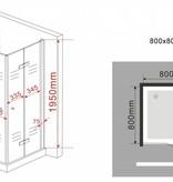 Douchecabine CLIP 80x80x195 cm met klapdeuren