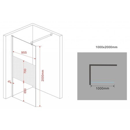 Inloopdouche AQUA-FROSTED 100 x 200 cm 10 mm veiligheidsglas