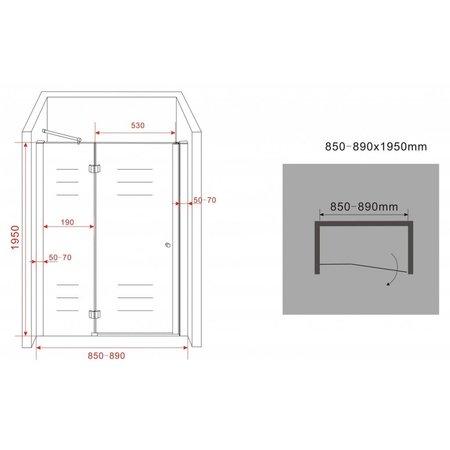 Douchedeur - nisdeur ENTER 85x195 cm, 8 mm veiligheidsglas