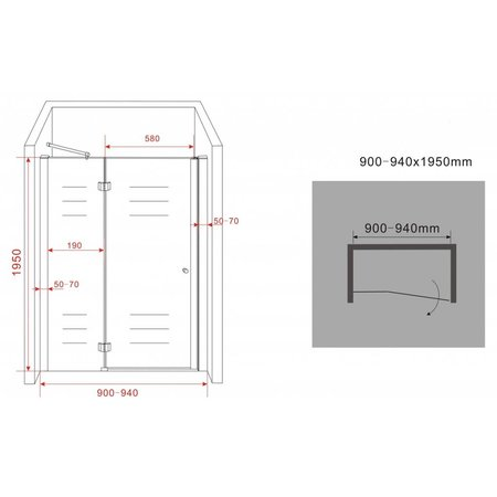 Douchedeur - nisdeur ENTER 90x195 cm, 8 mm veiligheidsglas