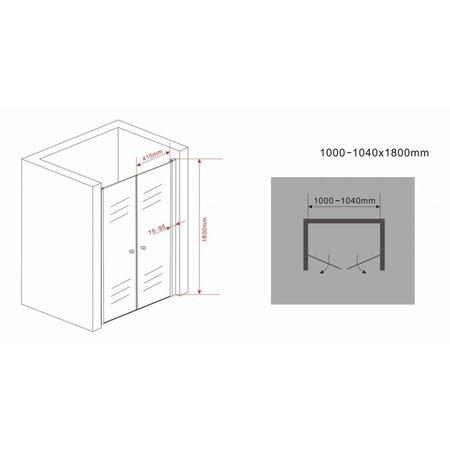 Douchedeur - pendeldeur SWING 100x180 cm