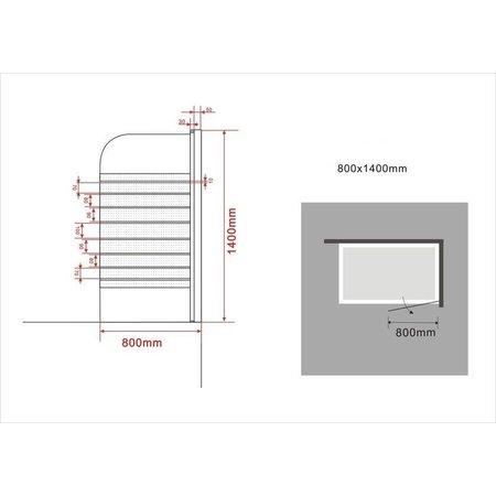 Douchewand voor Bad SPA-FX 80 x 140 cm