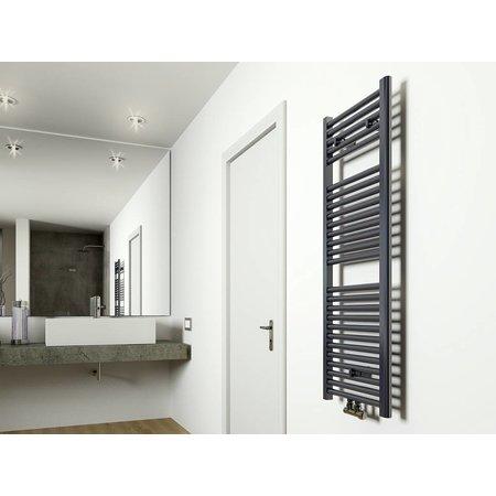 Elara design radiator antraciet 1185 x 450 midden/onder aansluiting