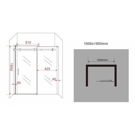 Schuifdeur - Douchedeur SLIDE 100x195 cm 8 mm glas