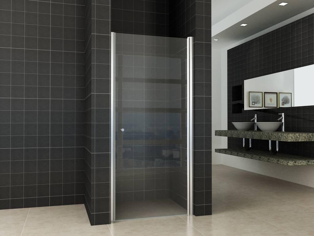 Een grote douchedeur cm in huis halen sanidream