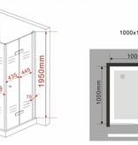 Douchecabine CLIP 100x100x195 cm met klapdeuren