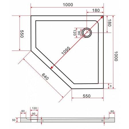 Douchebak vijfhoek 100 x 100 x 5 cm