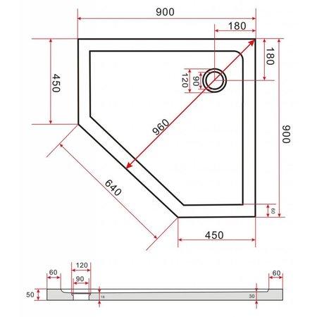 Douchebak vijfhoek 90 x 90 x 5 cm