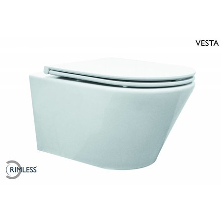 Vesta Rimless wandcloset 52 cm met Flatline Soft-Close zitting wit